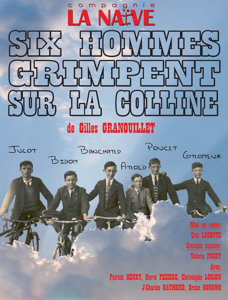 six hommes grimpent sur la colline
